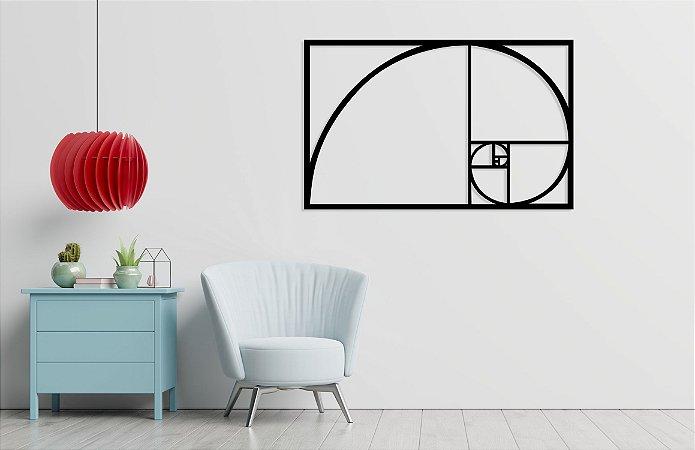 Escultura De Parede Quadro Decorativo Proporção Áurea Fibonacci em madeira
