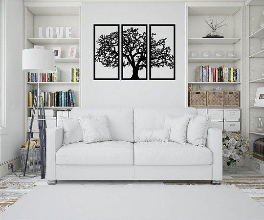 Trio de Quadros Árvore Da Vida Madeira Preto