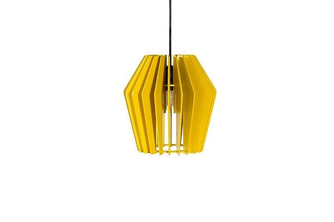 Luminária Pendente SunFlower em Madeira Amarelo
