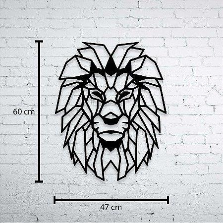 Escultura de Parede Leão Geométrico Aplique 60cm Pintado mdf 3mm