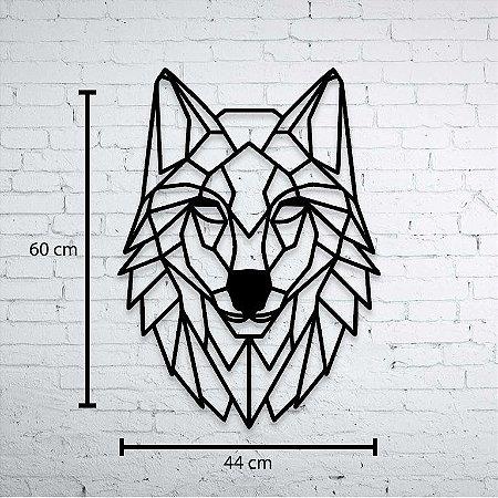 Escultura de Parede Lobo Geométrico Aplique 60cm Pintado mdf 6mm