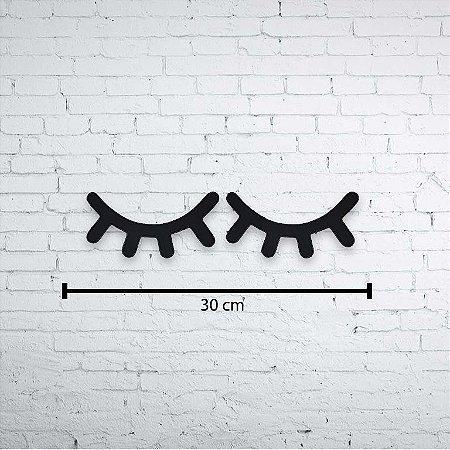 Olhos Sonolentos Escultura de Parede Aplique 30cm Pintado mdf 6mm