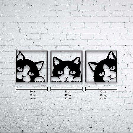 Escultura de Parede 3 Gatinhos