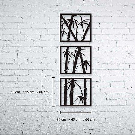 Trio Quadro Decorativo Brotos de Bambu
