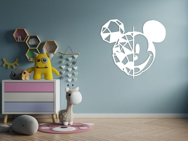 Escultura de parede Mickey geométrico em madeira