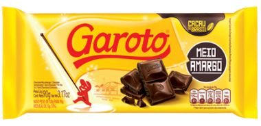 CHOCOLATE BARRA GAROTO MEIO AMARGO 90G