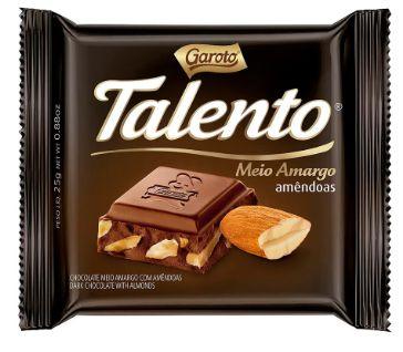 CHOCOLATE BARRA GAROTO TALENTO MEIO AMARGO 90G