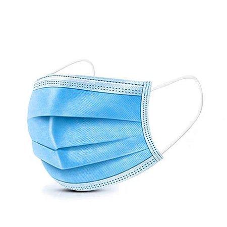 Mascara Descartavel Tripla Proteção Azul 50 unidades