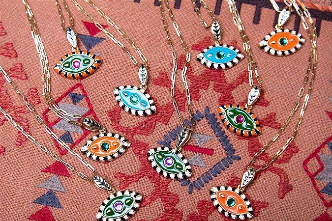 Colar Corrente Cartier Olho Egípcio Colors