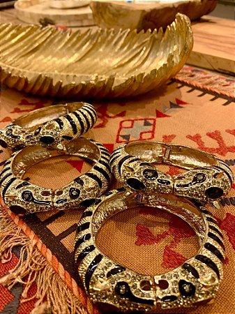 Bracelete Tigre Banho Ouro Cravejado