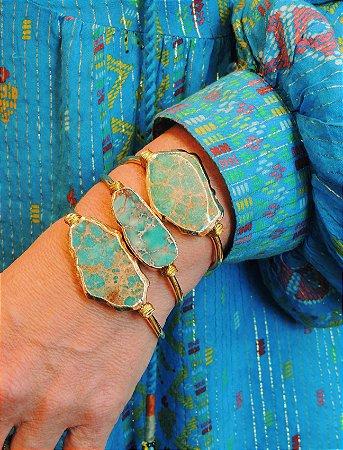 Bracelete Banho Ouro Com Pedra Natural Irregular