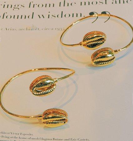 Bracelete Banho Ouro Búzios Duplo