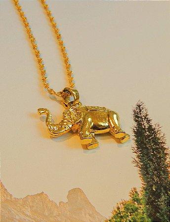 Colar Banho Ouro Elefante Maciço
