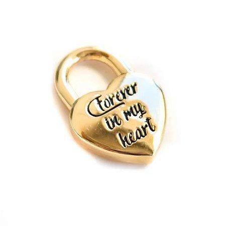 Pingente Cadeado Coração Forever In My Heart com banho em Ouro