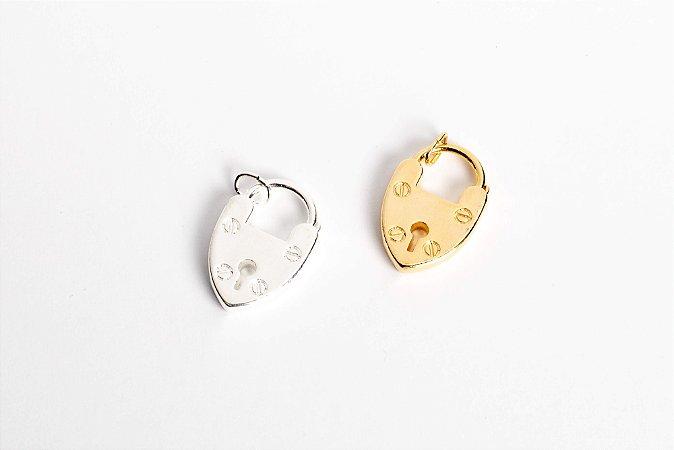 Pingente Cadeado Coração Vintage Grande com banho em Ouro ou Ródio Branco