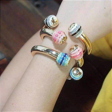 Bracelete Golden Com Banho Em Ouro E Ponta Esmaltada