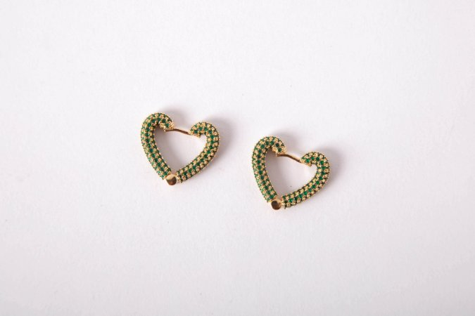 Brinco Coração Grande Cravejado Verde