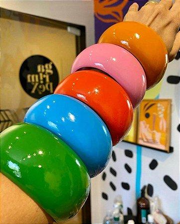 Pulseira Bracelete Em Madeira Colorida