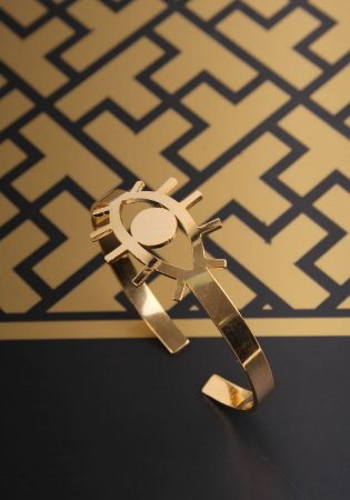 Pulseira Estilo Bracelete Olho Grego Dourada
