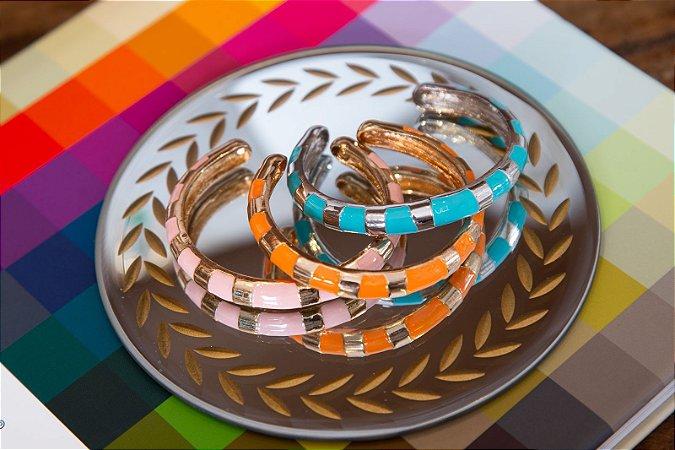 Bracelete Banho Ouro Ou Ródio Friso Color