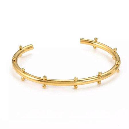 Bracelete Carreira Bolinhas Banho Ouro E Ródio