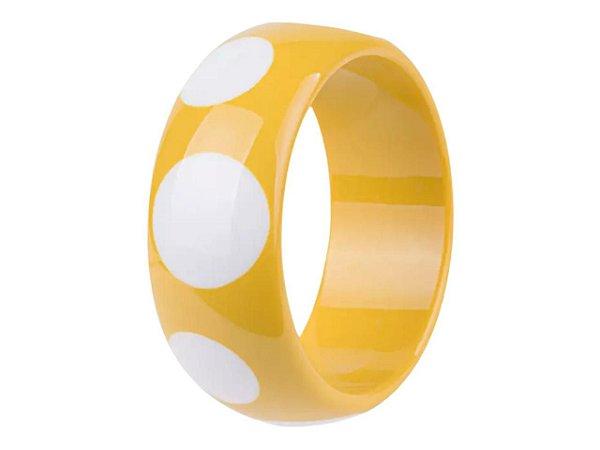 Bracelete Resina Color Bolas Brancas