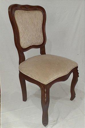 Cadeira em Madeira Trabalhada, Assento e Encosto em Tecido Canelado