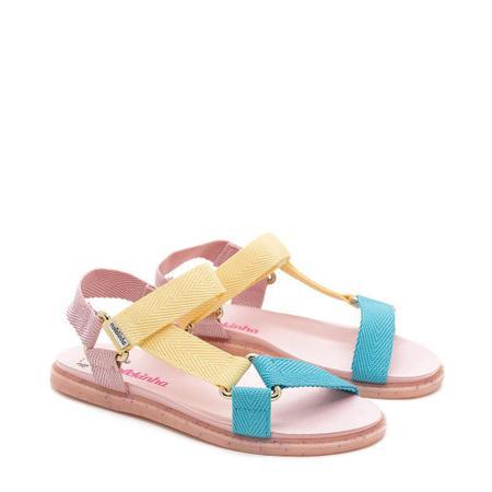 Sandálias Molekinha Amarelo/rosa
