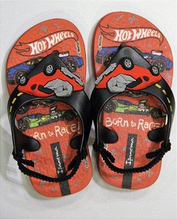 Sandálias Ipanema Hot Wheels Baby/26071 Preto/vermelho