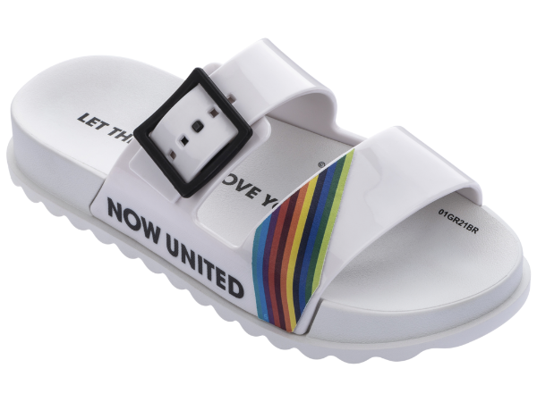 Chinelos Now United Branco/multicor