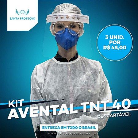 KIT COM 3 AVENTAIS EM TNT 40G - BRANCO