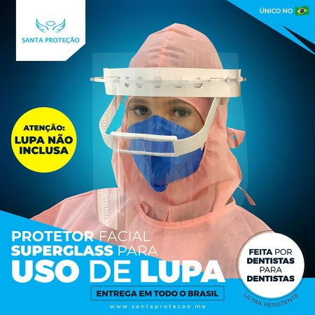 KIT 01 -  Protetor Facial para Uso de Lupa + 3 Visores Extras - Cor Transparente