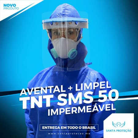 KIT Avental em Tnt Sms 50g + Limpel Impermeável - Azul - Com 3 Unidades de Cada