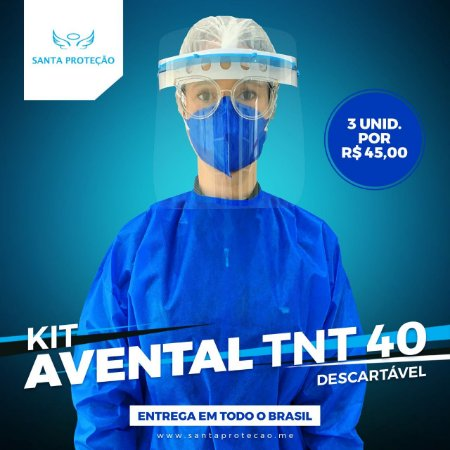 KIT COM 3 AVENTAIS EM TNT 40G - AZUL ROYAL