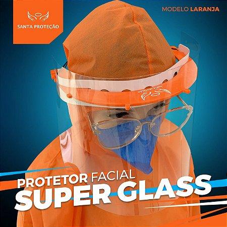 Protetor Facial SuperGlass Convencional - 100% Transparente - Cor Laranja