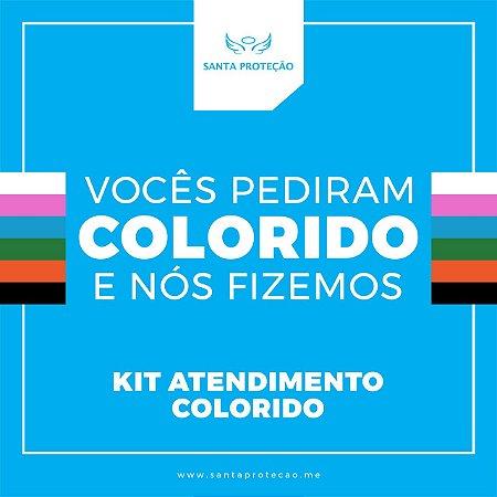 KIT Atendimento Colorido -  1 Protetor Facial Superglass Completo + 5 Estruturas + 1 Visor de Brinde