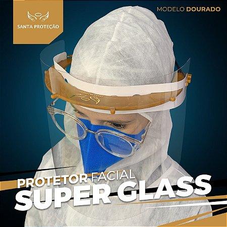 Protetor Facial SuperGlass Convencional - 100% Transparente - Cor Dourado