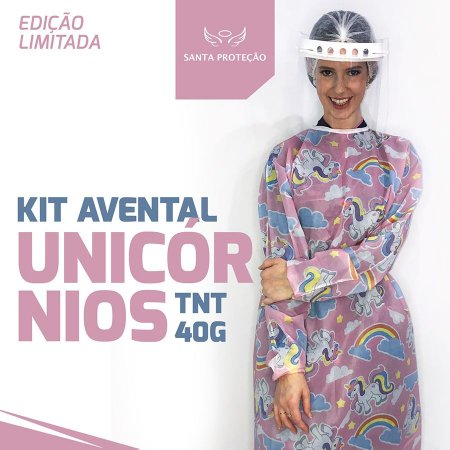 KIT Avental Unicórnio em Tnt 40g - 2 Unidades