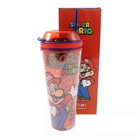 Copo 2 em 1 Super Mario com canudo 500 ml
