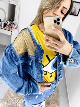 Jaqueta Jeans com Tela
