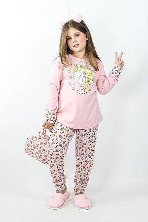 Pijama Menina Inverno Unicórnio Fabulous