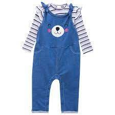 Jardineira Longa Jeans E Body Manga Longa Infanti Ref 44927