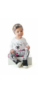 Conjunto Feminino Body Manga Longa, Calça e Tiara Up Baby REf 43063