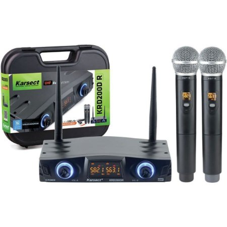 MICROFONE S/FIO UHF KARSECT KRD200DR 2MIC RECARREGÁVEIS