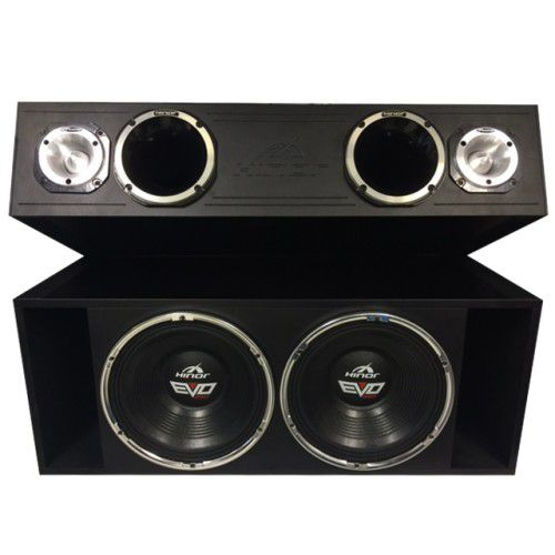 Caixa Automotiva Amplificada Hinor Box Trio EVO 550 1550 W/rms