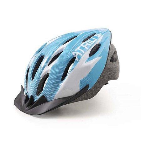 Capacete Ciclismo com Led Traseiro 2.0 Azul/Branco Viseira Removível G