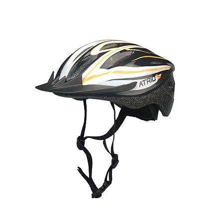 Capacete Ciclismo Mtb Alças Ajustáveis, Laranja/Branco G