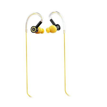Fone De Ouvido Multilaser Pulse Silicone Earhook Preto Com Amarelo Ph221 Esportivo