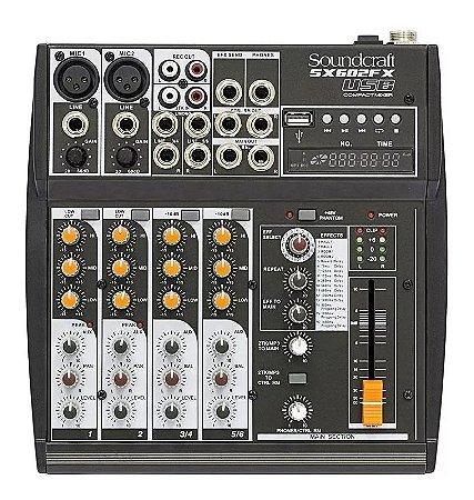 Mesa De Som Soundcraft Sx602fx 6 Canais Com Efeitos USB