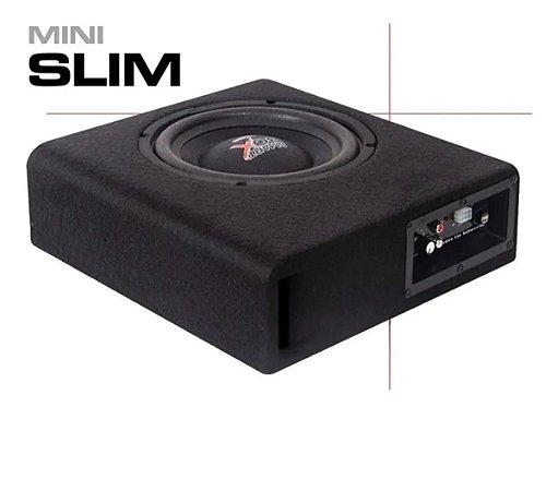 Caixa Som Amplificada Carro Mini Slim Boog 200w Rms 8 Pol
